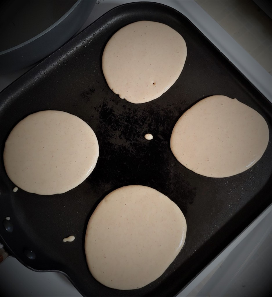 4 pancakes on the griddle