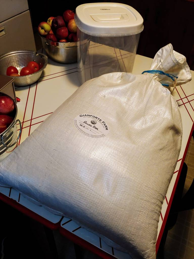 40-pound bag of local, organic rolled oats from Gianforte Farm in Cazenovia, NY