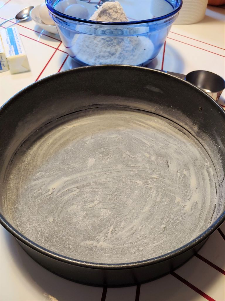 Buttered and floured 9-inch round baking pan